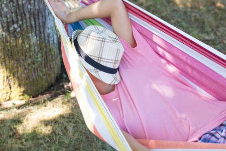 child sleeping in the hammock Stock Photo