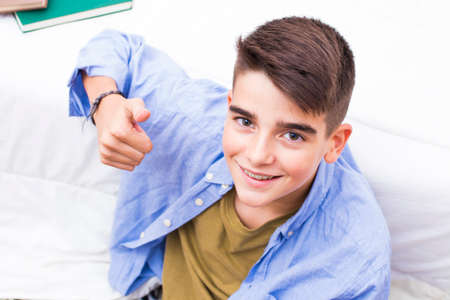 young preteen smiling with braces Stock fotó - 91216494