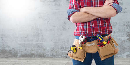 worker and professional builder with tools Stok Fotoğraf