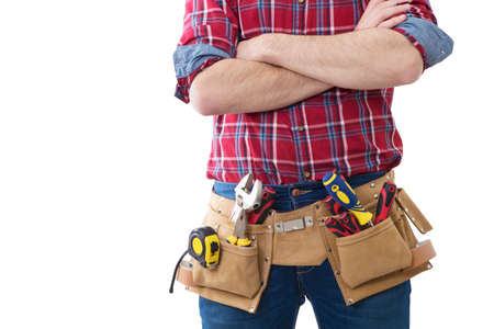 worker and professional builder with tools Stock Photo