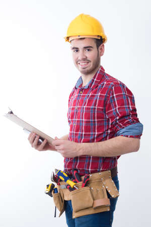 mason or construction worker isolated in white background, builder Stock Photo