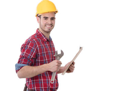portrait of construction professional with tool and documents
