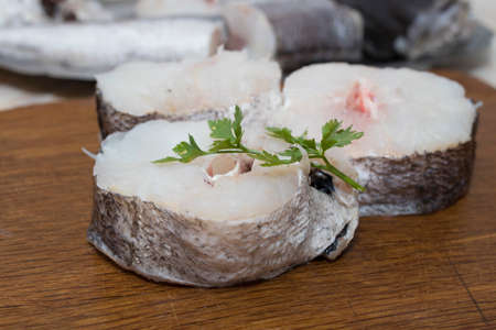 raw sliced hake fish