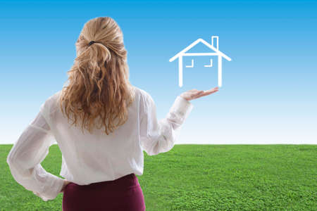woman with the house, concepts of buying house