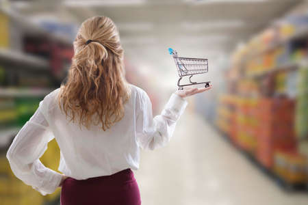girl with shopping cart in the supermarket