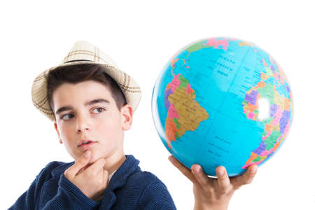 thoughtful isolated child with world map Reklamní fotografie