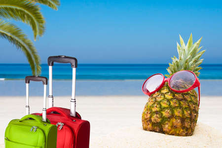 pineapple with sunglasses in the summer landscape on the beach