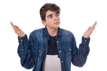 young man with a gesture of isolated incomprehension on white background Stockfoto