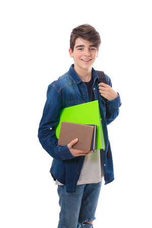 student with books isolated in white background
