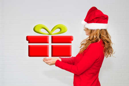 woman with hat and christmas gift