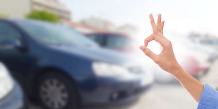 buy car, hand with gesture of guarantee and satisfaction 版權商用圖片