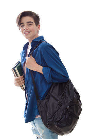 student with backpack and books isolated in white background