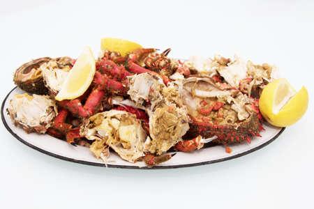 crab and shellfish tray of the galician estuary