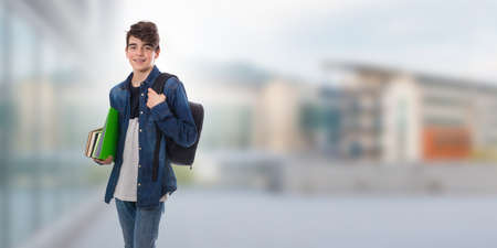 student with backpack and books in school