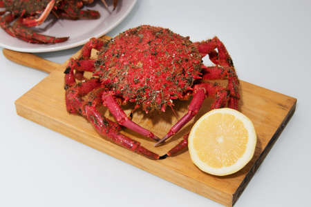 crab fresh with lemon, seafood Stock Photo