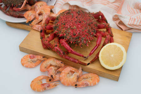 crab prepared with lemon, fish and shellfish Stock Photo