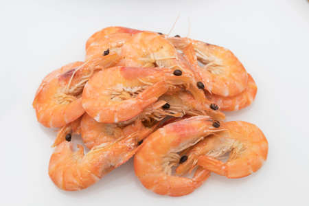 cooked prawns isolated in white background Banque d'images