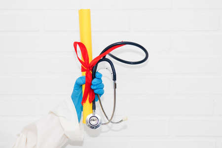 doctor with diploma and graduation in medicine Stok Fotoğraf