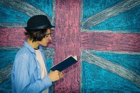 student with books and background flag, learn languages