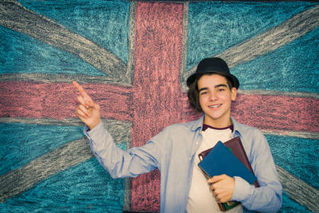 student with books and english flag, learn english Stock fotó