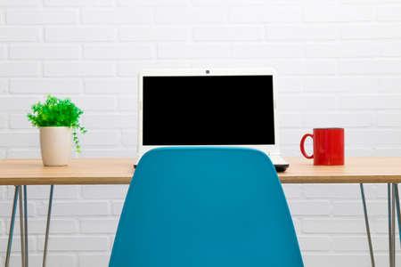 desktop with computer Stock fotó