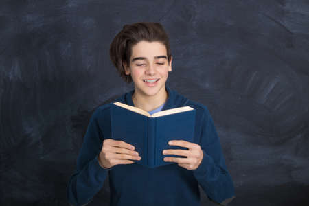 student portrait with books and background