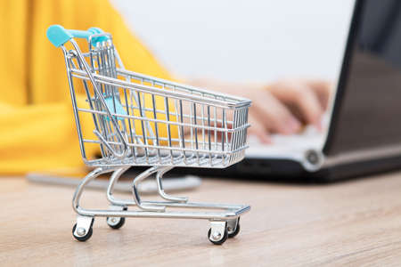 hands typing on the computer and shopping cart, online purchases 免版税图像