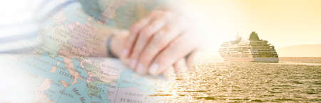 cruise with hands and map, travel concept