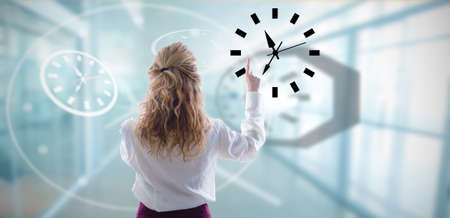 businesswoman with the concept of hours and watches Stock Photo