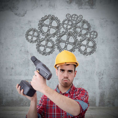 construction worker with drill thinking development