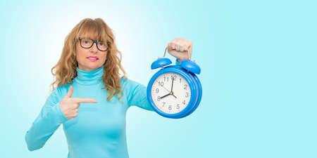 isolated woman with clock or alarm
