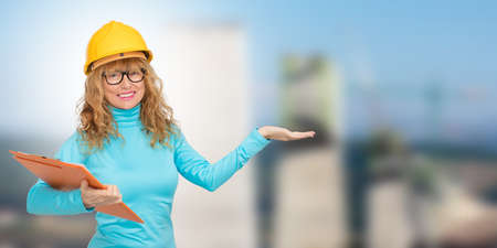 woman building, architect or real estate with houses and buildings