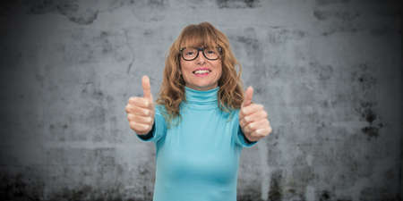 isolated woman waving in positive attitude