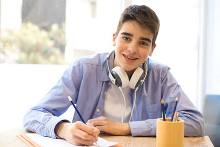 teen student at the desk Stock Photo