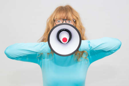adult woman with megaphone Imagens