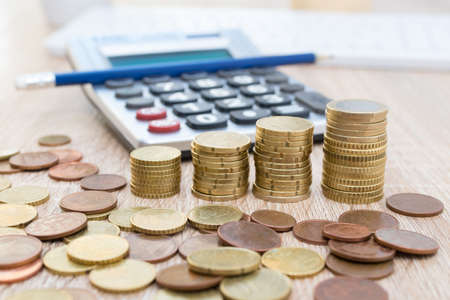 calculator and currencies, savings and accounting