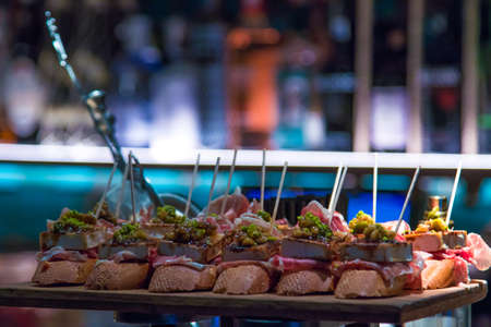 skewers and tapas typical of the basque country, skewers and gourmet cuisine