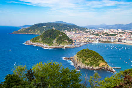 panoramic and landscape of the beach of the shell in san sebastian, donostia, spain