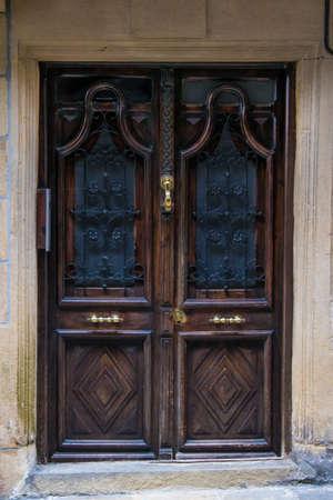 old wooden building door