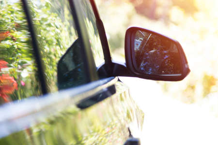 detail of the cars mirror or rearview mirror