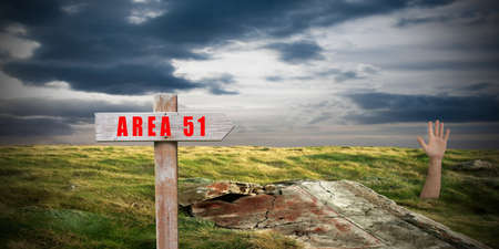 landscape with area 51 sign 스톡 콘텐츠