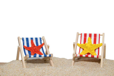 beach hammocks with stars isolated on white background 写真素材