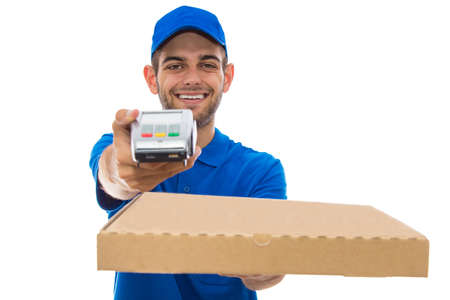 young delivery man with pizza and payment terminal isolated on white