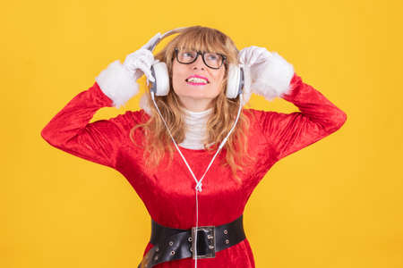 santa claus with headphones listening isolated
