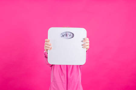 woman with weight loss, weight and diet scale Фото со стока