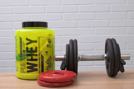 Galicia, Spain - October 30, 2019: whey whey protein, food supplements for athletes Stock Photo