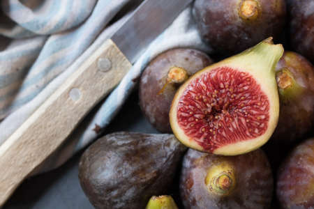 natural black figs presented in group