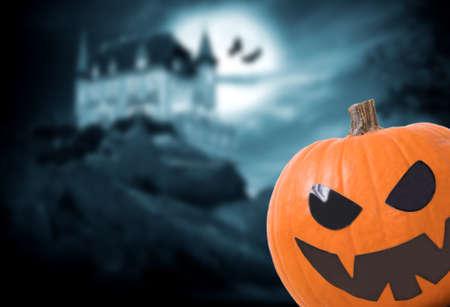 halloween pumpkin with night background with castle, halloween night