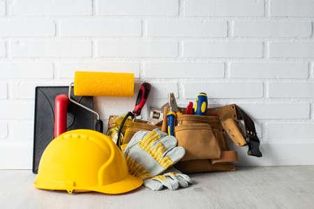 construction worker helmet with tools