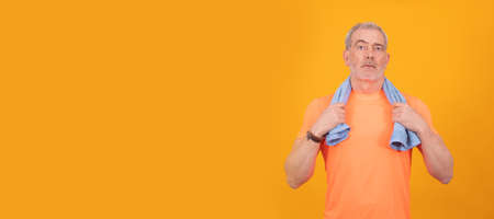 adult or senior man with sportswear isolated on color background